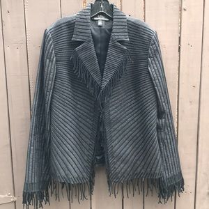 Company Ellen Tracy vintage black blazer w/ fringe